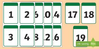 1-19 Number Cards - numbers, counting, ordering numbers, 1-19, teen numbers,