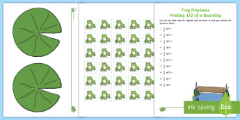 Frog Fractions Finding a Half of a Quantity Activity Sheet - fractions, finding a fraction of a Quantity, halving, finding half, practical fraction activities, a
