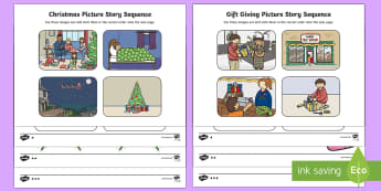 Gift Giving Picture Story Sequencing Differentiated Activity Sheets-Australia - Christmas Australia, presents, Christmas story,Australia
