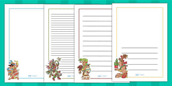 Maya Gods Page Borders - writing templates, mayans, ancient maya