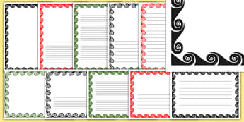Koru Page Borders Pack - nz, new zealand, koru, page borders, pack, page, borders, writing frames