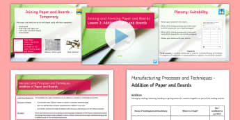 Manufacturing Processes - Joining and Forming Paper and Boards L3: Addition - Key Stage 4 Design & technologydesign processGCSE design & technologydesign projectiterative designp