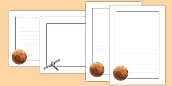 Mars Page Borders - Mars, space, planets, universe, writing, literacy, page, borders, independent