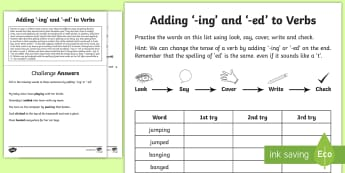 Year 1 Spelling Practice Adding '-ing' and '-ed' to Verbs Homework Activity Sheet  - ks1, English, year 1, practice, home learning, home work, homework, Worksheet, practise, SPaG, spell