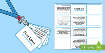 CfE First Level Information Handling Lanyard-Sized Benchmarks - Numeracy first level assessment benchmarks observations,Scottish, assessment, outcomes, objectives,