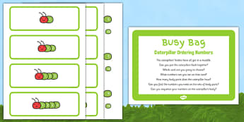Caterpillar Ordering Numbers Busy Bag Prompt Card and Resource Pack - numbers, ordering, sequencing, EYFS