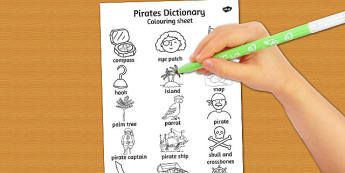 Pirates Dictionary Colouring Sheet - pirates, colouring, sheet