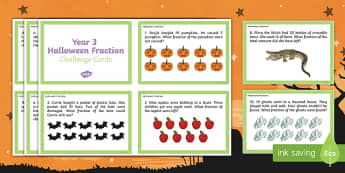 Year 3 Halloween Fractions Challenge Cards