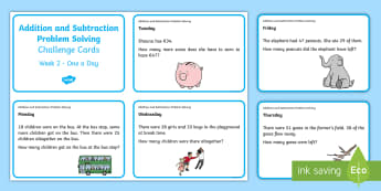 Addition and Subtraction Problem Solving Challenge Cards - ROI Numeracy - Problem Solving,Irish