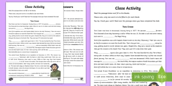 Tom Crean Cloze Activity Sheet - English, Cloze Activity, Tom Crean, assessment, reading, comprehension, worksheet, fill in the blank
