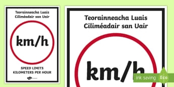 ROI Editable km/hr Measures Display Sign-Irish - measures, kilometre, hour, speed, velocity, distance, maths, time, length, maths games, display, edi