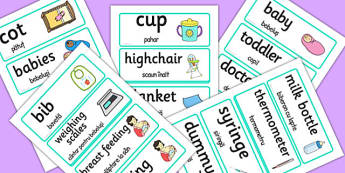 Baby Clinic Word Cards Romanian Translation - romanian, baby clinic