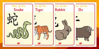 Australia Chinese Animal Display Posters Year Of The Zodiac - Display Posters, Chinese new year, China, lantern, dragon