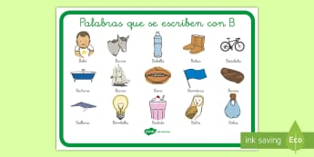 Póster palabras letra B - pósters, ortografía, letra B, palabras, cómo se escriben,Spanish