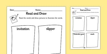 Cinderella Read and Draw Worksheet - cinderella, read, draw