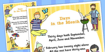 Days in the Month Poster - days, month, display poster, poster