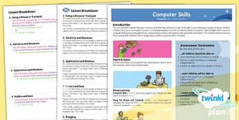 PlanIt - Computing Year 1 - Computer Skills Planning Overview CfE - planit, planning, overview, cfe