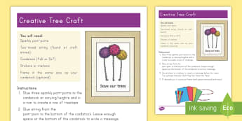 Creative Tree Picture Craft - Earth Day, lorax, craft, project, art, picture frame, string, stickers, reduce, reuse, recycle, tree