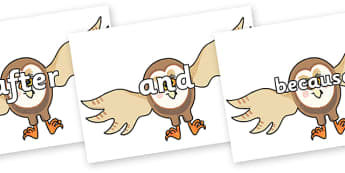 Connectives on Hullabaloo Owl to Support Teaching on Farmyard Hullabaloo - Connectives, VCOP, connective resources, connectives display words, connective displays