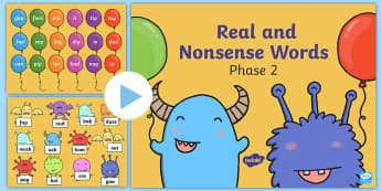 Phase 2 Phonics Real and Nonsense Words Popping PowerPoint - Phonics, phase 2, real words, alien words, letters and sounds, cvc words