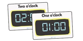 Digital Clocks - Hourly O Clock - Time resource, digital clock, Time vocaulary, clock face, O clock, half past, quarter past, quarter to, shapes spaces measures