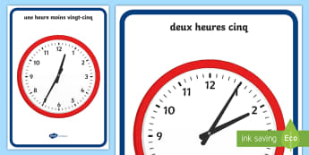 Posters d'affichage : Pendules analogiques à 5 minutes d'intervalle - heure, time, KS1, cycle 2, cycle 3, analogique, analogue, 5 minutes, posters, display, affiche,Frenc
