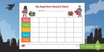 Superhero Themed My Reward Chart Pack Activity - My Superhero Reward Chart - Reward Chart, free reward chart, my reward chart, rewards, reward, Schoo