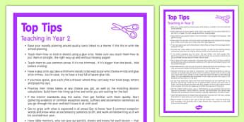 Teaching in Year 2 Top Tips