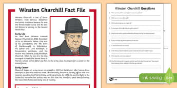 Winston Churchill KS2 Differentiated Reading Comprehension Activity