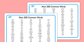 Next 200 Common Words Alphabetical Word Mat - 200, common word, alphabetical, word mat
