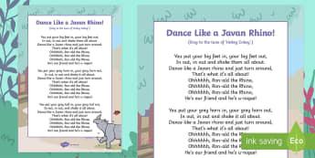 Dance Like a Javan Rhino Song Lyrics - Ronald the Rhino, children's book, rhyme, story, text, rhyming couplets, syllables, Leopard, Python
