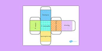 Plantilla de dado de adverbios de frecuencia - adverbios, formación de frases