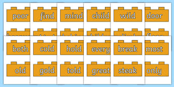 Year 2 Common Exception Words on Bricks -  spelling, ks1, literacy, english progress, marking, test, testing, phonics