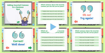 Adding Inverted Commas To A Sentence Quiz PowerPoint - Adding Inverted Commas To A Sentence Quiz  PowerPoint  , inverted commas in sentences, australian cu