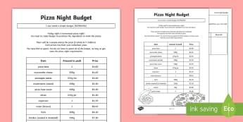 Pizza Night Budget Activity Sheet - worksheet, money, dollars, cents, adding money, shopping