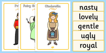 Cinderella Character Describing Words Matching Activity - match