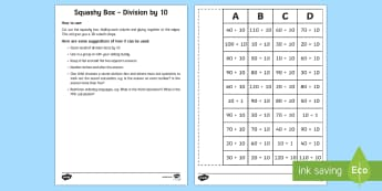 Squashy Boxes Division by 10 Craft - Mental Maths Warm Up + Revision - Northern Ireland, squashy boxes, division facts by 10, divide by 1
