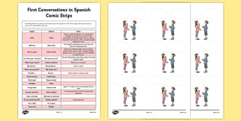 First Conversations in Spanish Comic Strips - first, conversations, spanish, comic strips