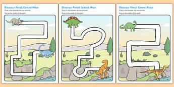 Dinosaur Pencil Control Path Sheets - dinosaur, pencil control, pencil control worksheets, fine motor skills, fine motor worksheets, worksheets