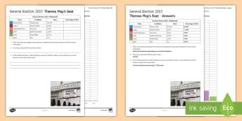 Theresa May's Seat Data Analysis Activity Sheet - Secondary - Event - General Election 08/06/2017 , theresa, may
