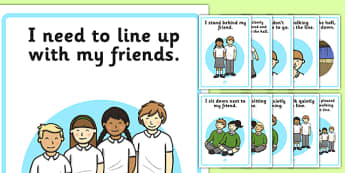 Lining Up Social Story Posters - lining up, social story, posters, display, social, story