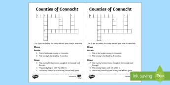 Counties of Connacht Crossword - ROI - The World Around UsWAU,Irish