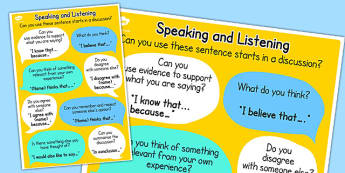 Speaking and Listening Talk Frames Poster - discussion, posters