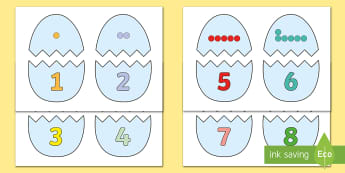 Easter Egg Dots to 10 Matching Game - EYFS, Early Years, KS1, Easter, Easter eggs, Maths, Numeracy, number shapes, Numicon, number recogni
