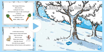 A Little White Snowman Rhyme PowerPoint - Winter, snow, season, cold, frost, rhyme