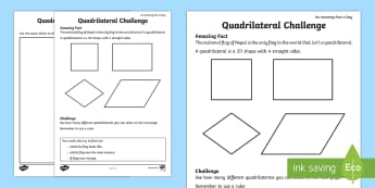 Quadrilateral Challenge Activity Sheet - Amazing Fact Of The Day, activity sheets, powerpoint, starter, morning activity, February, KS1 activ