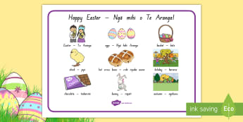 New Zealand Easter Word Mat - English/Te Reo Māori - New Zealand, Easter, eggs, basket, Lent, bunny