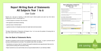 Report Writing Bank of Statements Adult Guidance - report writing, teacher organisation, bank of statements, report writing bank of statements, year 1,