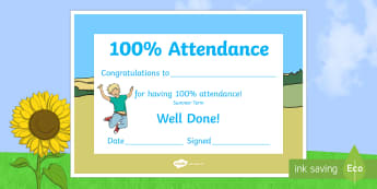 Summer Term Themed 100 Attendance Certificate - Certificates, awards, attendance, 100% attendance