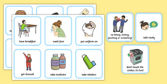 SEN Communication Cards Daily Routine (Boy) - communication cards, education, home school, child development